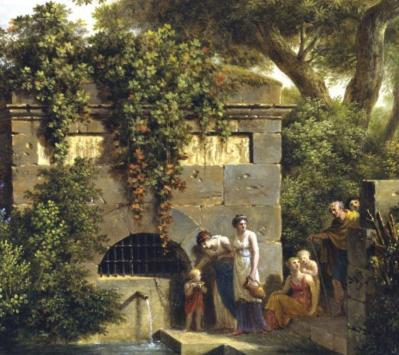PH de Valenciennes. Paysage classique, la fontaine