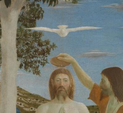 Piero della Francesca. Le baptême du Christ, détail