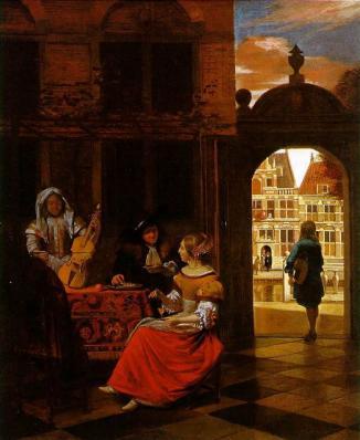 Pieter de Hooch. Réception musicale dans une cour (1777)