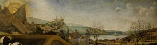Robert Campin. Nativité. L'horizon