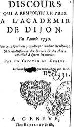 Rousseau. Discours sur les Sciences et la Arts (édition originale)