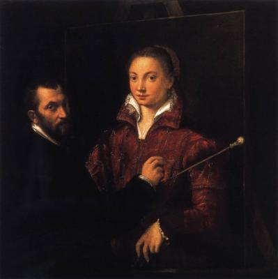 S. Anguissola. Bernardino Campi peignant Sofonisba Anguissola (v. 1559)
