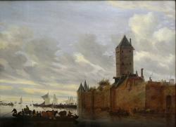 Salomon van Ruisdael. Estuaire avec ville fortifiée (1648)