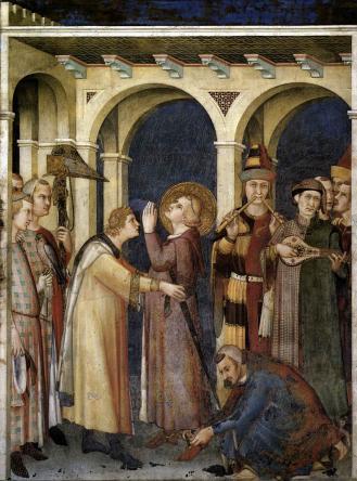 Simone Martini. Saint Martin fait chevalier (1320-25)