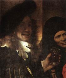 Vermeer. Détail de L'entremetteuse. Autoportrait présumé (1656)