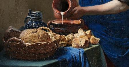 Vermeer la laitiere detail3 v 1660