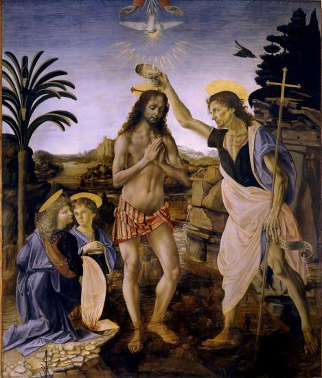 Verrocchio & Vinci. Le baptême du Christ (1472-75).