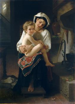 William Bouguereau. Jeune mère contemplant son enfant (1871)