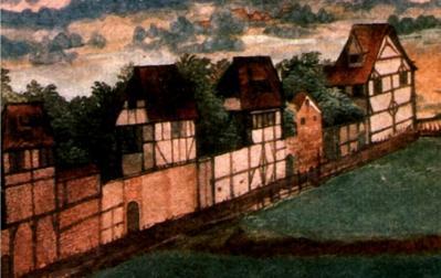 AAlbrecht Dürer. Les maisons à colombages, détail