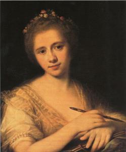 Angelica Kauffmann. Autoportrait avec couronne de fleurs (1771)