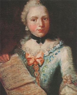 Angelica Kauffmann. Autoportrait avec partition musicale (1753)