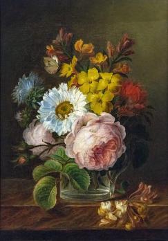 Anne Vallayer-Coster. Bouquet de fleurs dans un verre d'eau (1770-1800)