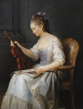 Anne Vallayer-Coster. Portrait d'une violoniste (1773)
