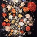 Brueghel. Bouquet de fleurs avec bijoux, pièces et coquilles (1606)