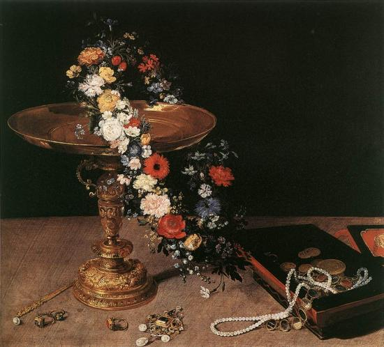 Brueghel. Nature morte avec guirlande de fleurs et coupe dorée (1618)