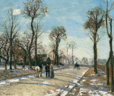 Camille Pissarro. Route de Versailles, Louveciennes, soleil d'hiver et neige (1870)