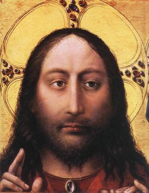 Campin. Le Christ et la Vierge en prière, détail 1 (1424)