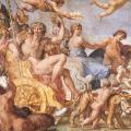 Carrache. Triomphe de Bacchus et d'Ariane (voûte palais Farnèse détail, 1597-1602)