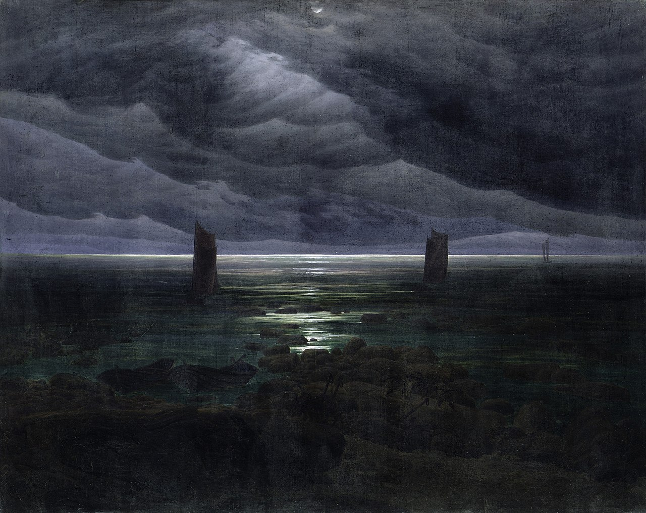 Caspar David Friedrich. Le rivage au clair de lune. (1835-36)
