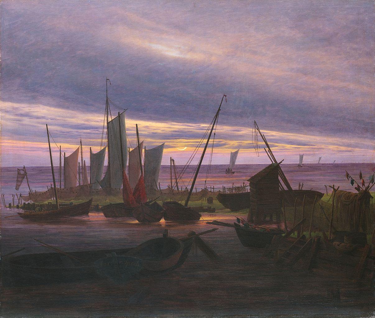 Ca s'est passé en septembre ! Caspar-david-friedrich-navires-dans-le-port-le-soir-1828