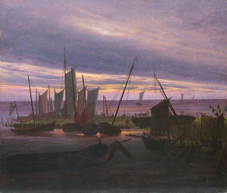 Caspar David Friedrich. Navires dans le port, le soir (v. 1828)