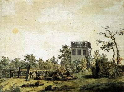 Caspar David Friedrich. Paysage avec pavillon (v. 1797)
