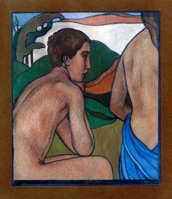 Charles Filiger. Homme nu assis devant un paysage (1892)