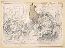 Charles Le Brun. L'Adoration des bergers, dessin 1 (1689)