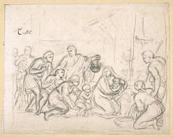 Charles Le Brun. L'Adoration des bergers, dessin 2 (1689)