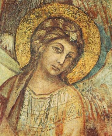 Cimabue. Vierge à l'Enfant avec saint François et quatre anges, détail (1278-80)