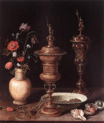 Clara Peeters. Nature morte aux coupes, fleurs et coquillages (1612)