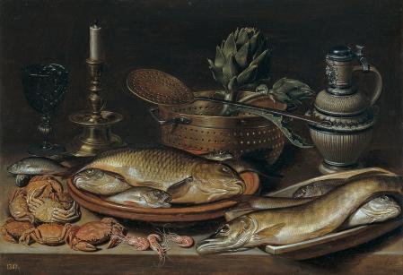 Clara Peeters. Nature morte avec poisson et artichauts (1611)