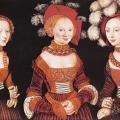 Cranach l'Ancien. Les princesses de Saxe Sibylla, Emilia et Sidonia (v. 1535)