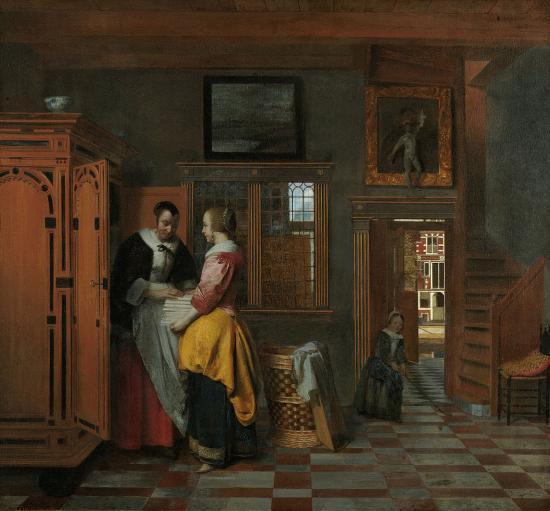 De Hooch. L'armoire à linge (1663)