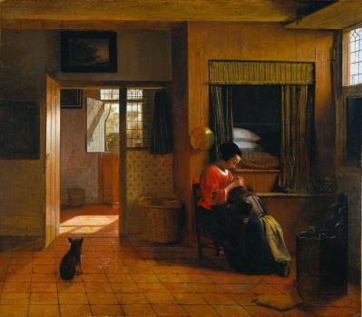 De Hooch. Les soins maternels (1658-60)