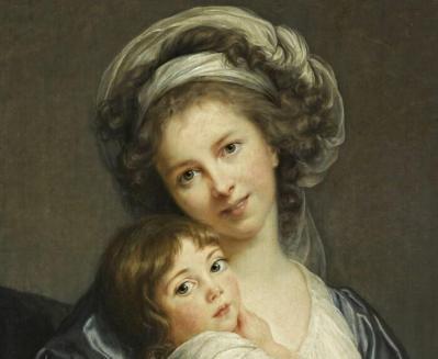 Elisabeth Vigée Le Brun. Madame Vigée Le Brun et sa fille Julie, détail (1786)