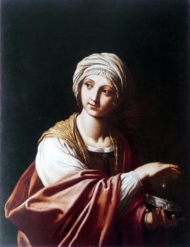 Elisabetta Sirani. Cléopâtre et la perle (1655-65)