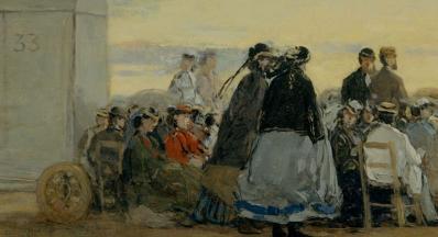Eugène Boudin. Sur la plage coucher de soleil, détail (1865)