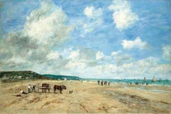 Eugène Boudin. La plage à Deauville (1864)