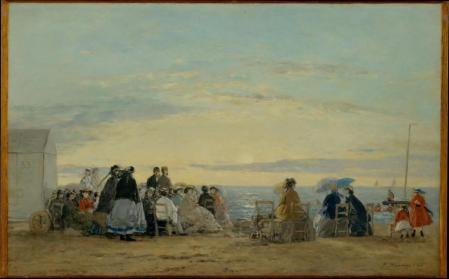 Eugène Boudin. Sur la plage, coucher de soleil (1865)
