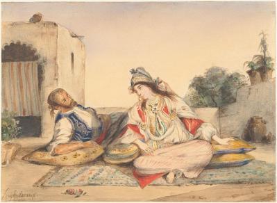 Eugène Delacroix. Couple marocain sur sa terrasse (1832)