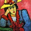 Von Jawlensky. Femme au chapeau de paille jaune, 1910