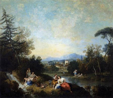 Francesco Zuccarelli. Paysage avec femmes à la rivière (1760)