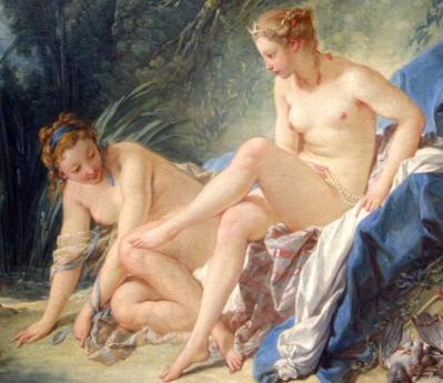François Boucher. Diane sortant du bain, détail (1742)
