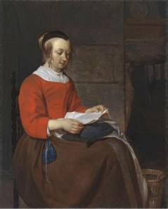 Gabriel Metsu. Jeune femme assise lisant une lettre (1658-61)