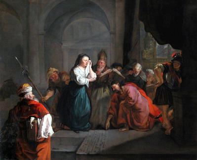 Gabriel Metsu. Le Christ prenant la défense de la femme adultère (1653)