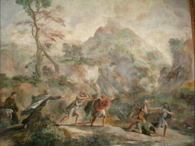 Gaspard Dughet. Scènes de la vie d'Elie et Elisée, détail (1646-51)