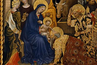 Gentile da Fabriano. L'Adoration des Mages, détail (1423)