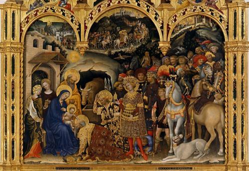 Gentile da Fabriano. L'Adoration des Mages, scène centrale (1423)