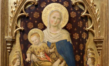 Gentile da Fabriano. Polyptyque Quaratesi, Vierge à l'Enfant, détail (1425)